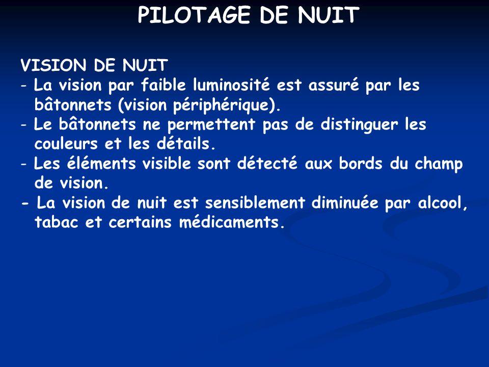 PILOTAGE DE NUIT VISION DE NUIT - La vision par faible luminosité est assuré par les bâtonnets (vision périphérique). - Le bâtonnets ne permettent pas