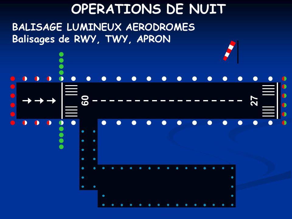 OPERATIONS DE NUIT BALISAGE LUMINEUX AERODROMES Balisages de RWY, TWY, APRON 09 27