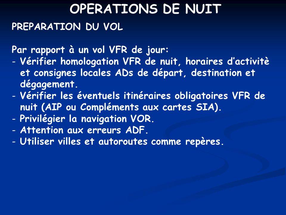OPERATIONS DE NUIT PREPARATION DU VOL Par rapport à un vol VFR de jour: - Vérifier homologation VFR de nuit, horaires dactivitè et consignes locales A