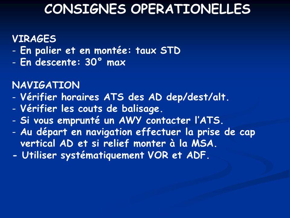 CONSIGNES OPERATIONELLES VIRAGES - En palier et en montée: taux STD - En descente: 30° max NAVIGATION - Vérifier horaires ATS des AD dep/dest/alt. - V