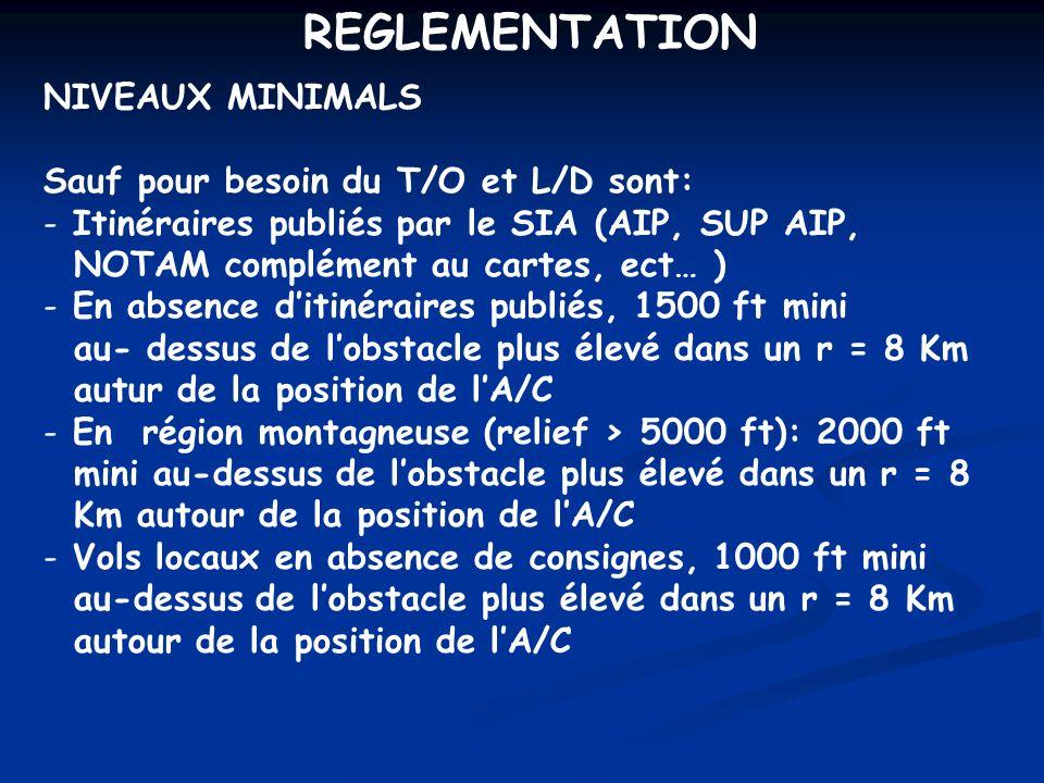 REGLEMENTATION NIVEAUX MINIMALS Sauf pour besoin du T/O et L/D sont: - Itinéraires publiés par le SIA (AIP, SUP AIP, NOTAM complément au cartes, ect…