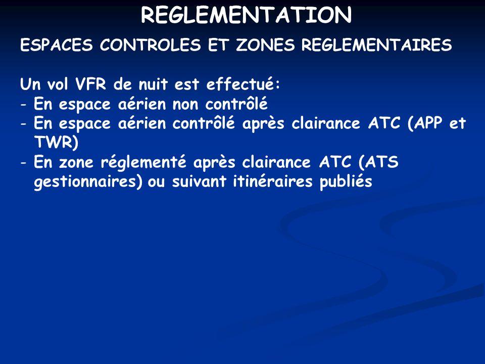 REGLEMENTATION ESPACES CONTROLES ET ZONES REGLEMENTAIRES Un vol VFR de nuit est effectué: - En espace aérien non contrôlé - En espace aérien contrôlé
