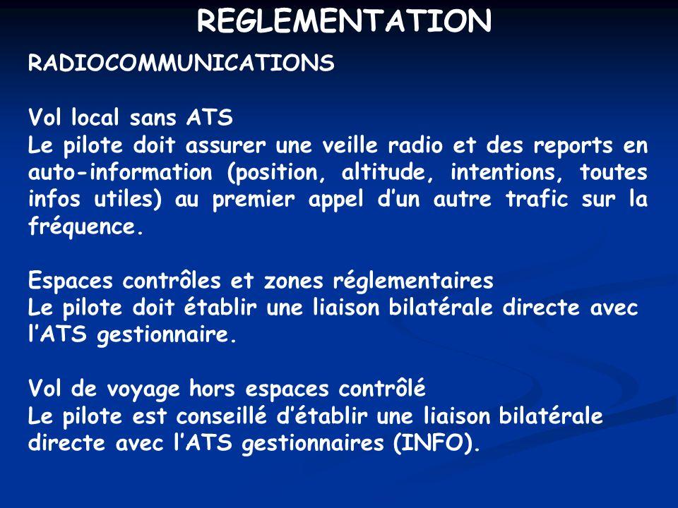 REGLEMENTATION RADIOCOMMUNICATIONS Vol local sans ATS Le pilote doit assurer une veille radio et des reports en auto-information (position, altitude,