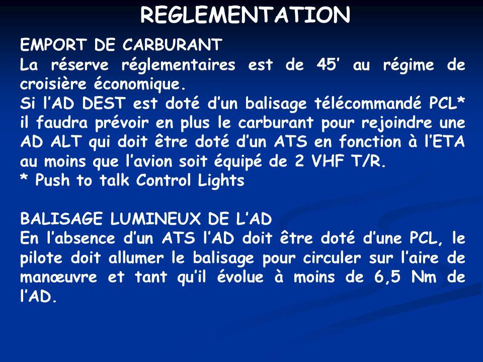 OPERATIONS DE NUIT BALISAGE LUMINEUX AERODROMES PCL (Pilot Conrolled Lighting) Mise en œuvre: - 3 coups en 5 pour allumer feux BI pour 15 - 5 coups en 5 pour allumer feux HI (si prévus) - 7 coups en 5 pour éteindre Le balisage doit être en fonction: - Avant toute circulation sur laire de manouvre - A moins de 6,5 NM de lAD