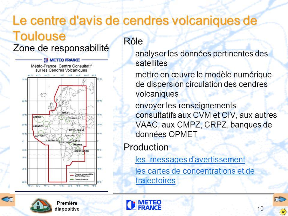 Première diapositive 10 Le centre d'avis de cendres volcaniques de Toulouse Rôle analyser les données pertinentes des satellites mettre en œuvre le mo
