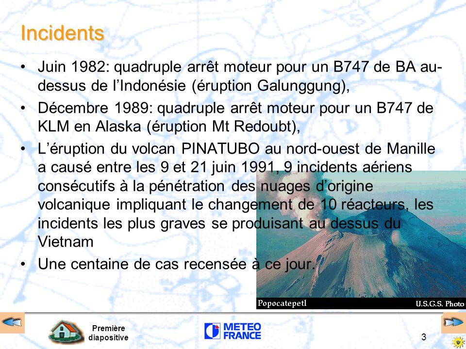 Première diapositive 3 Incidents Juin 1982: quadruple arrêt moteur pour un B747 de BA au- dessus de lIndonésie (éruption Galunggung), Décembre 1989: q