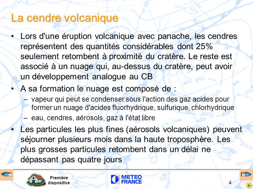 Première diapositive 5 Identification Repérage sensoriel –chargé en gouttelettes d eau couleur blanchâtre tirant sur le marron sale –atmosphère plus sèche couleur bleutée due à la condensation des gaz chauds –forte odeur d œufs pourris (composants sulfureux) –parfum de feux électriques (concentration ozone) Repérage satellite –mis à part les satellites géo-orbitaux américains du type TOMS (détection dozone) qui peuvent détecter un nuage volcanique quand sa teneur en CO2 est forte, les autres types de satellites ne peuvent les détecter lorsque ceux-ci sont noyés dans la nébulosité environnante