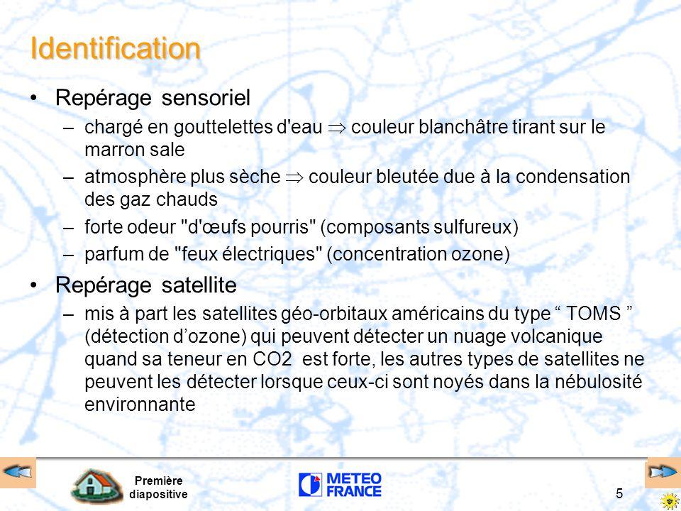 Première diapositive 5 Identification Repérage sensoriel –chargé en gouttelettes d'eau couleur blanchâtre tirant sur le marron sale –atmosphère plus s