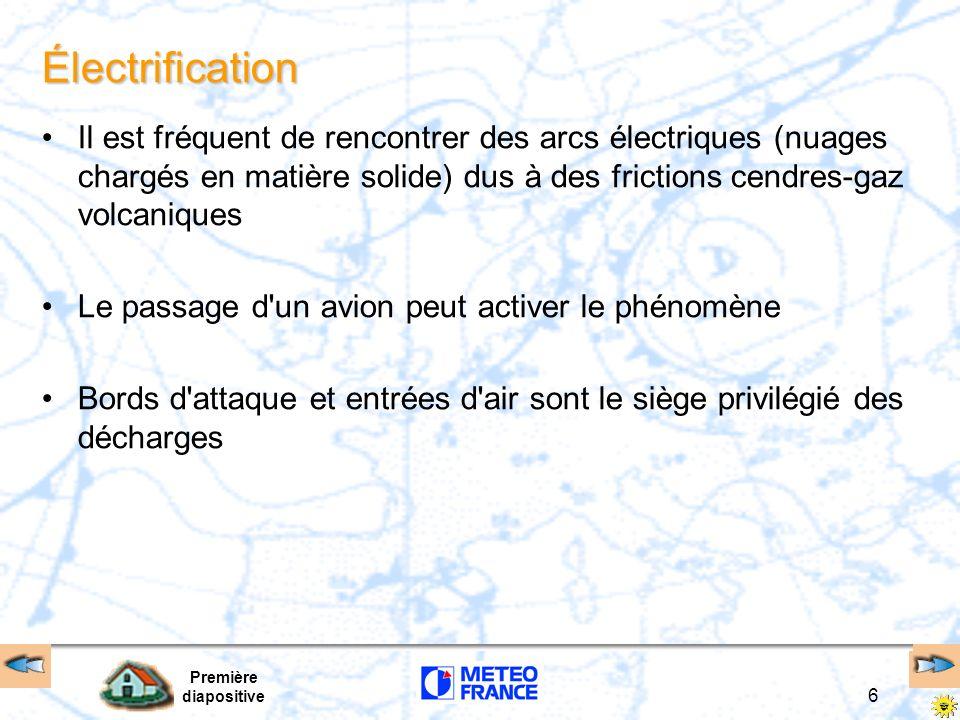 Première diapositive 6 Électrification Il est fréquent de rencontrer des arcs électriques (nuages chargés en matière solide) dus à des frictions cendr