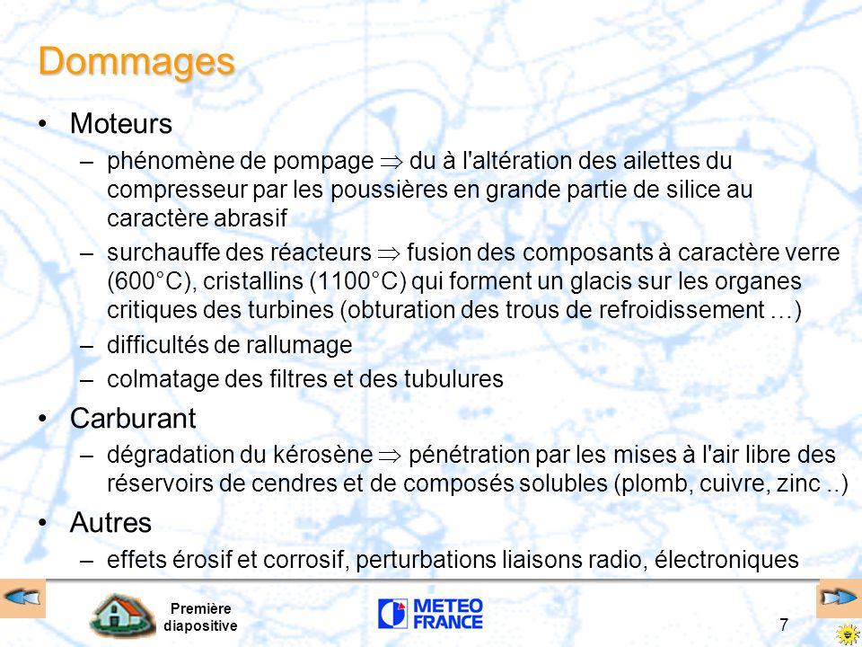 Première diapositive 7 Dommages Moteurs –phénomène de pompage du à l'altération des ailettes du compresseur par les poussières en grande partie de sil