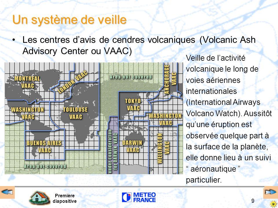 Première diapositive 10 Le centre d avis de cendres volcaniques de Toulouse Rôle analyser les données pertinentes des satellites mettre en œuvre le modèle numérique de dispersion circulation des cendres volcaniques envoyer les renseignements consultatifs aux CVM et CIV, aux autres VAAC, aux CMPZ, CRPZ, banques de données OPMET Production les messages d avertissement les cartes de concentrations et de trajectoires Zone de responsabilité