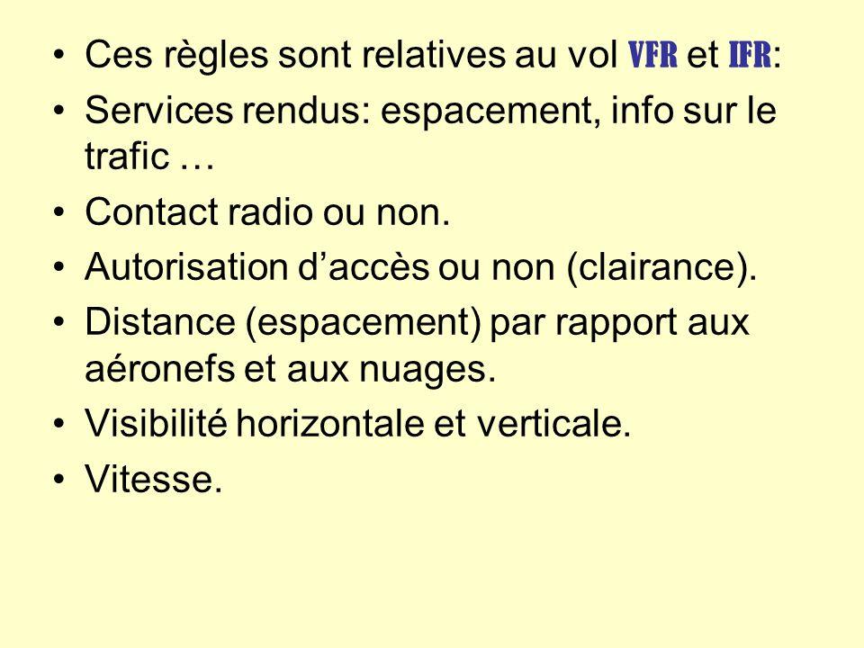 Ces règles sont relatives au vol VFR et IFR : Services rendus: espacement, info sur le trafic … Contact radio ou non. Autorisation daccès ou non (clai