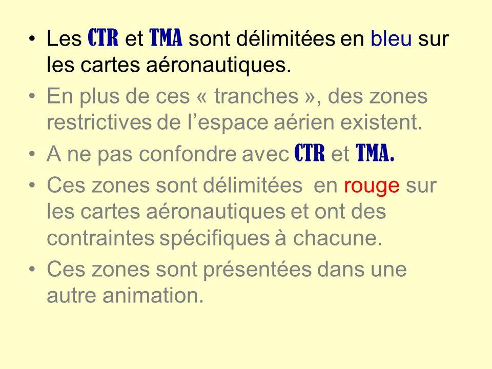 Les CTR et TMA sont délimitées en bleu sur les cartes aéronautiques. En plus de ces « tranches », des zones restrictives de lespace aérien existent. A