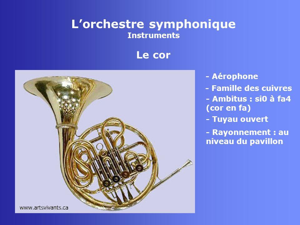 Lorchestre symphonique Instruments Le cor - Aérophone - Famille des cuivres - Tuyau ouvert - Rayonnement : au niveau du pavillon - Ambitus : si0 à fa4