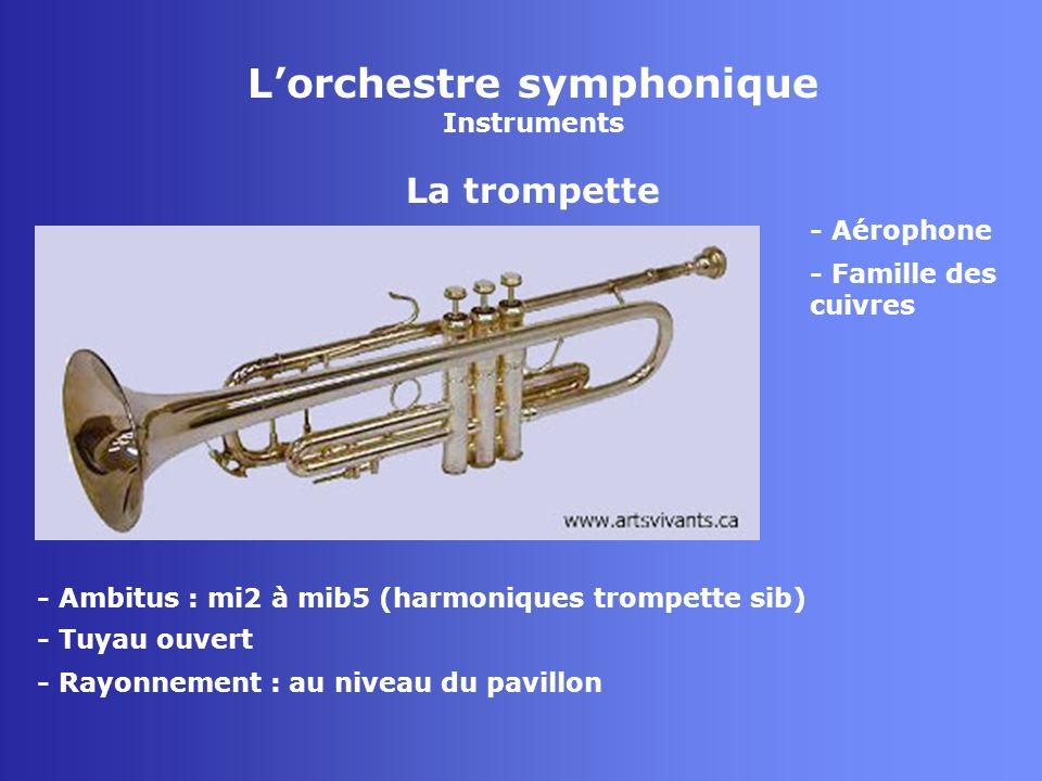 Lorchestre symphonique Instruments La trompette - Aérophone - Famille des cuivres - Tuyau ouvert - Rayonnement : au niveau du pavillon - Ambitus : mi2