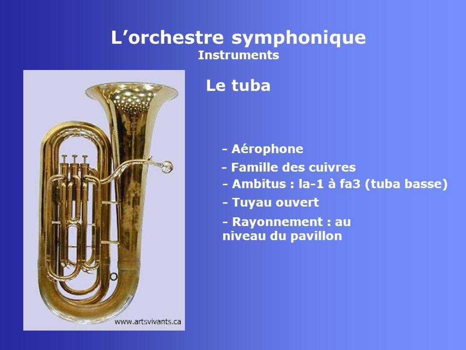 Lorchestre symphonique Instruments Le tuba - Aérophone - Famille des cuivres - Tuyau ouvert - Rayonnement : au niveau du pavillon - Ambitus : la-1 à f