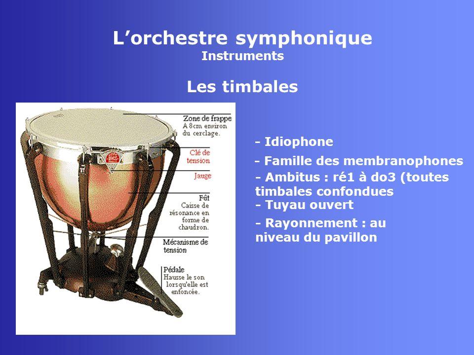 Lorchestre symphonique Instruments Les timbales - Idiophone - Famille des membranophones - Tuyau ouvert - Rayonnement : au niveau du pavillon - Ambitu