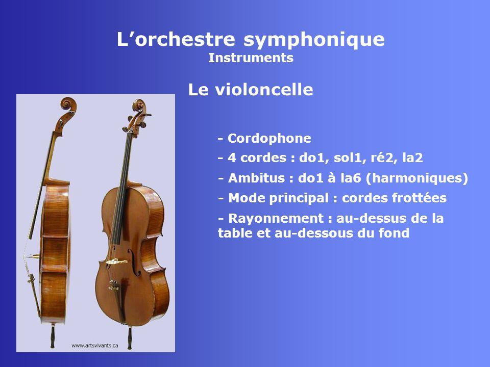 Lorchestre symphonique Instruments La contrebasse - Cordophone - 4 ou 5 cordes : do0, mi0, la0, re1, sol1 - Mode principal : cordes frottées - Rayonnement : au-dessus de la table et au-dessous du fond - Ambitus : do0 à sol5 (harmoniques)