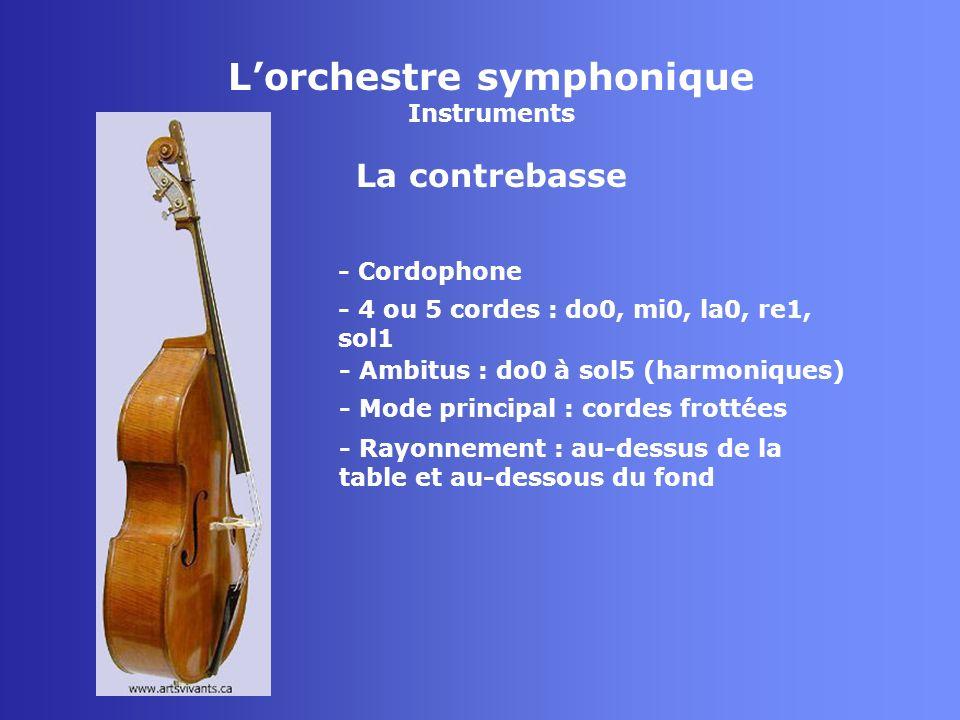Lorchestre symphonique Instruments La contrebasse - Cordophone - 4 ou 5 cordes : do0, mi0, la0, re1, sol1 - Mode principal : cordes frottées - Rayonne