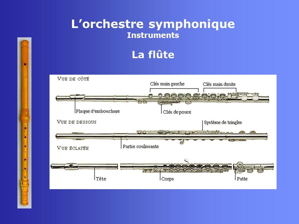 Lorchestre symphonique Instruments La flûte - Aérophone - Famille des bois - Tuyau ouvert - Rayonnement : principal au niveau de lembouchure - Ambitus : do3 à do6 (harmoniques)