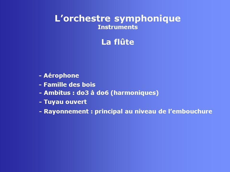 Lorchestre symphonique Instruments La flûte - Aérophone - Famille des bois - Tuyau ouvert - Rayonnement : principal au niveau de lembouchure - Ambitus