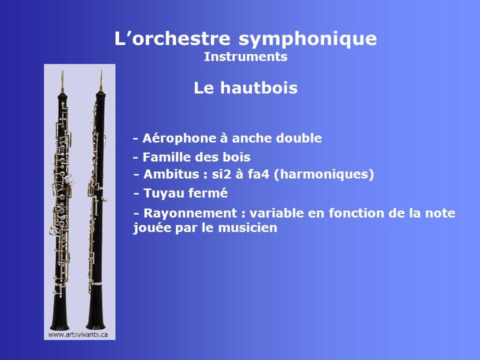 Lorchestre symphonique Instruments La clarinette - Aérophone à anche simple - Famille des bois - Tuyau fermé - Rayonnement : variable selon la note jouée par le musicien - Ambitus : ré2 à ré6 (harmoniques clarinette sib)