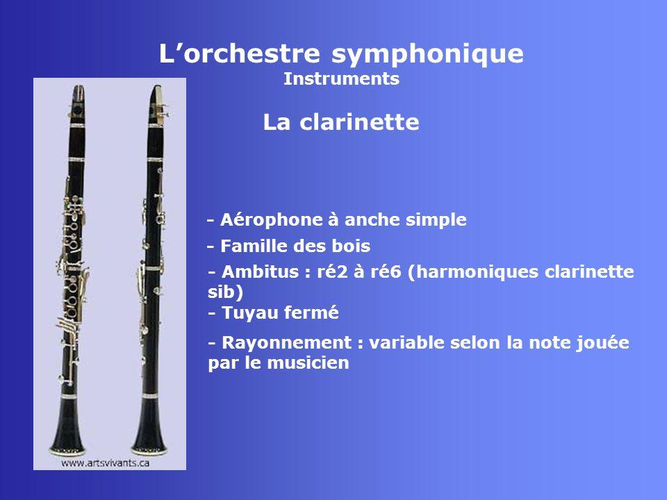 Lorchestre symphonique Instruments Le basson - Aérophone à anche double - Famille des bois - Tuyau fermé - Rayonnement : principal au niveau du pavillon mais rayonnement secondaire important au niveau du clétage en fonction de la note émise - Ambitus : sib0 à fa4 (harmoniques)