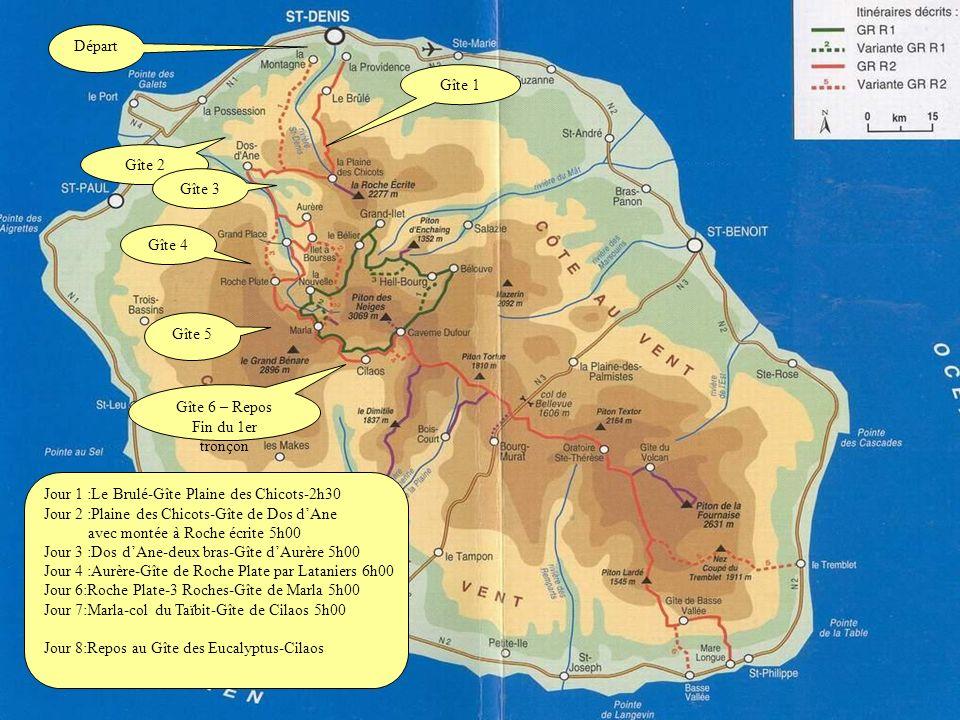 Ce diapo est fait avec des photos scannées dun trek fait en 1993,donc je navais pas encore de numérique à lépoque, mais lon a presque fait la traversée de lîle de la Réunion à pied en partant du Brulé (voir le plan de notre itinéraire) au dessus de St Denis, jusquà Cilaos pour cette première partie en huit jours sans sortir des cirques.