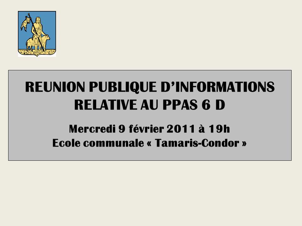 REUNION PUBLIQUE DINFORMATIONS RELATIVE AU PPAS 6 D Mercredi 9 février 2011 à 19h Ecole communale « Tamaris-Condor »