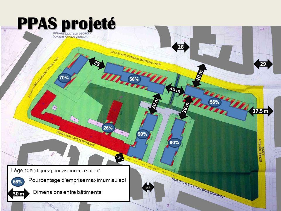 PPAS projeté 38 m 30 m 40 m 16,5 14 28 29 37,5 m 30 m 25% 56% 70% 90% 56% Pourcentage demprise maximum au sol 30 m Légende (cliquez pour visionner la suite) : Dimensions entre bâtiments