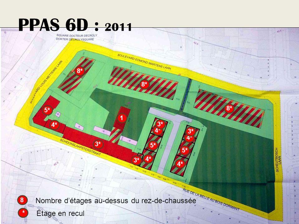 PPAS 6D : 2011 8* 5* 4* * Étage en recul 5* 4* 3* 5* 4* 3* 1 4* 3* 8 Nombre détages au-dessus du rez-de-chaussée