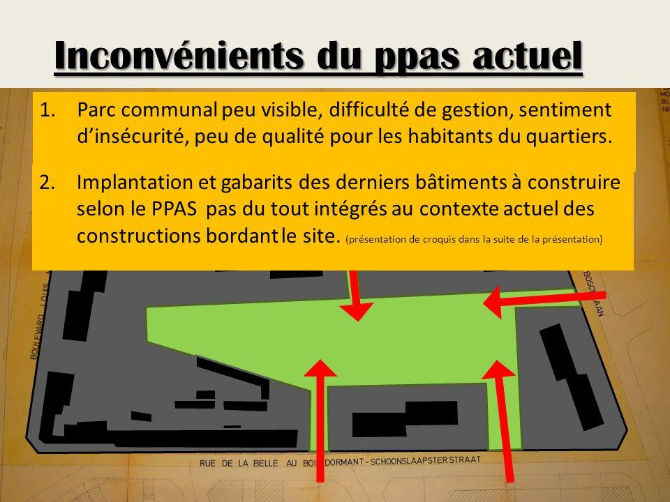 Avantages d une modification de ce PPAS : La division de cet îlot de très grande taille en 2, grâce à la réimplantation des bâtiments de manière perpendiculaire à la rue de la Belle-Au-Bois-Dormant, permet de : Objectifs de la modification créer un parc ouvert sur le quartier PPAS PROJETE PPAS ACTUEL
