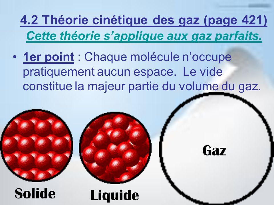4.2 Théorie cinétique des gaz (page 421) Cette théorie sapplique aux gaz parfaits. Cette théorie sapplique aux gaz parfaits. 1er point : Chaque molécu
