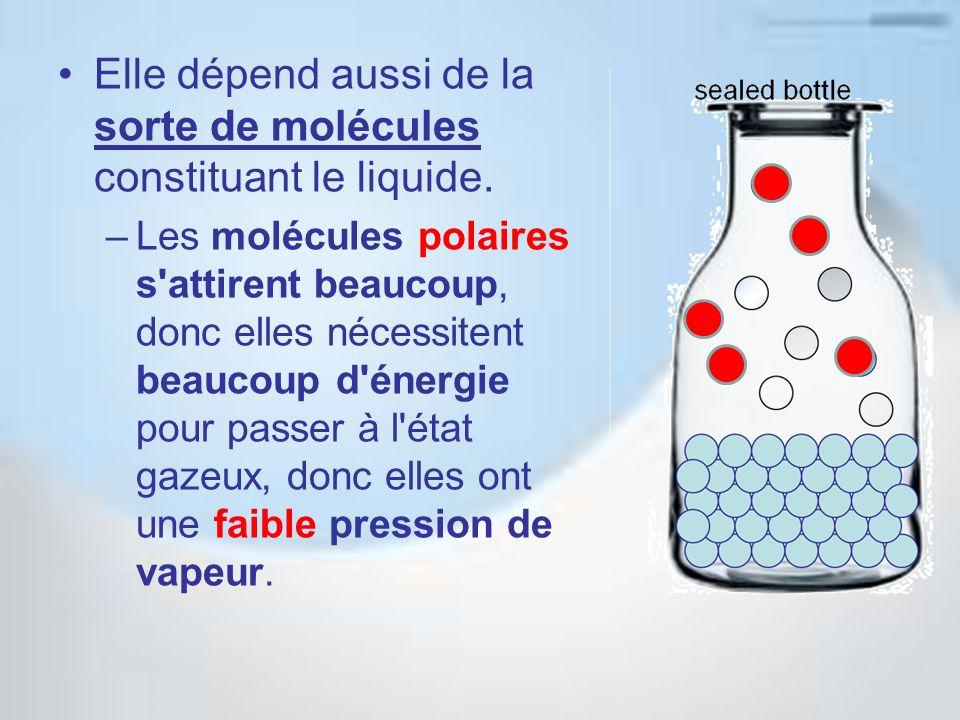 Elle dépend aussi de la sorte de molécules constituant le liquide. –Les molécules polaires s'attirent beaucoup, donc elles nécessitent beaucoup d'éner