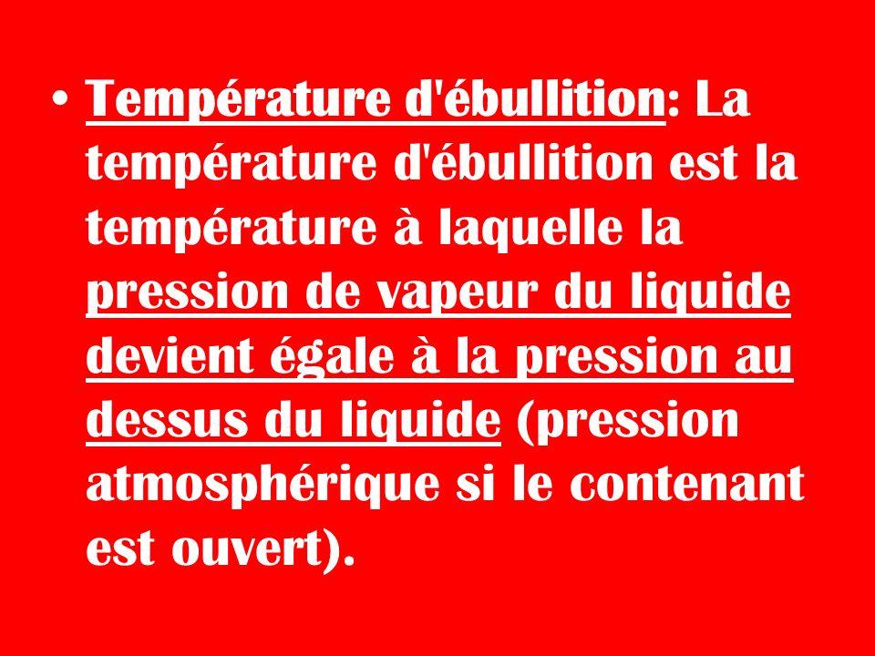 Température d'ébullition: La température d'ébullition est la température à laquelle la pression de vapeur du liquide devient égale à la pression au de