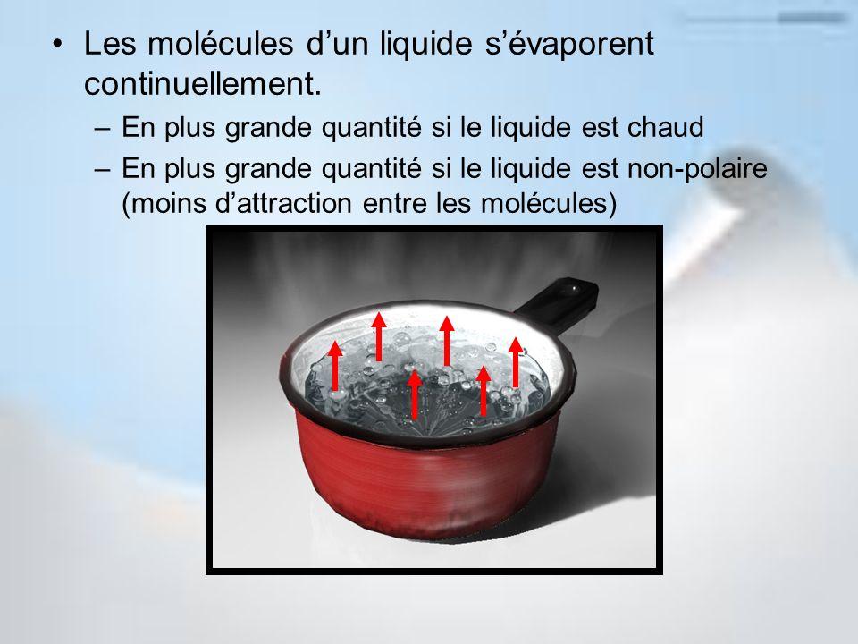 Les molécules dun liquide sévaporent continuellement. –En plus grande quantité si le liquide est chaud –En plus grande quantité si le liquide est non-