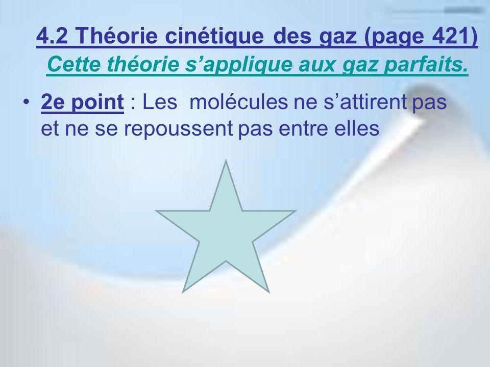 4.2 Théorie cinétique des gaz (page 421) Cette théorie sapplique aux gaz parfaits. Cette théorie sapplique aux gaz parfaits. 2e point : Les molécules