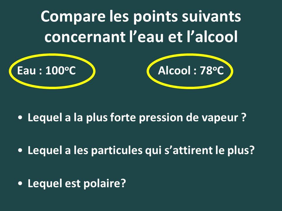 Compare les points suivants concernant leau et lalcool Eau : 100 o CAlcool : 78 o C Lequel a la plus forte pression de vapeur ? Lequel a les particule