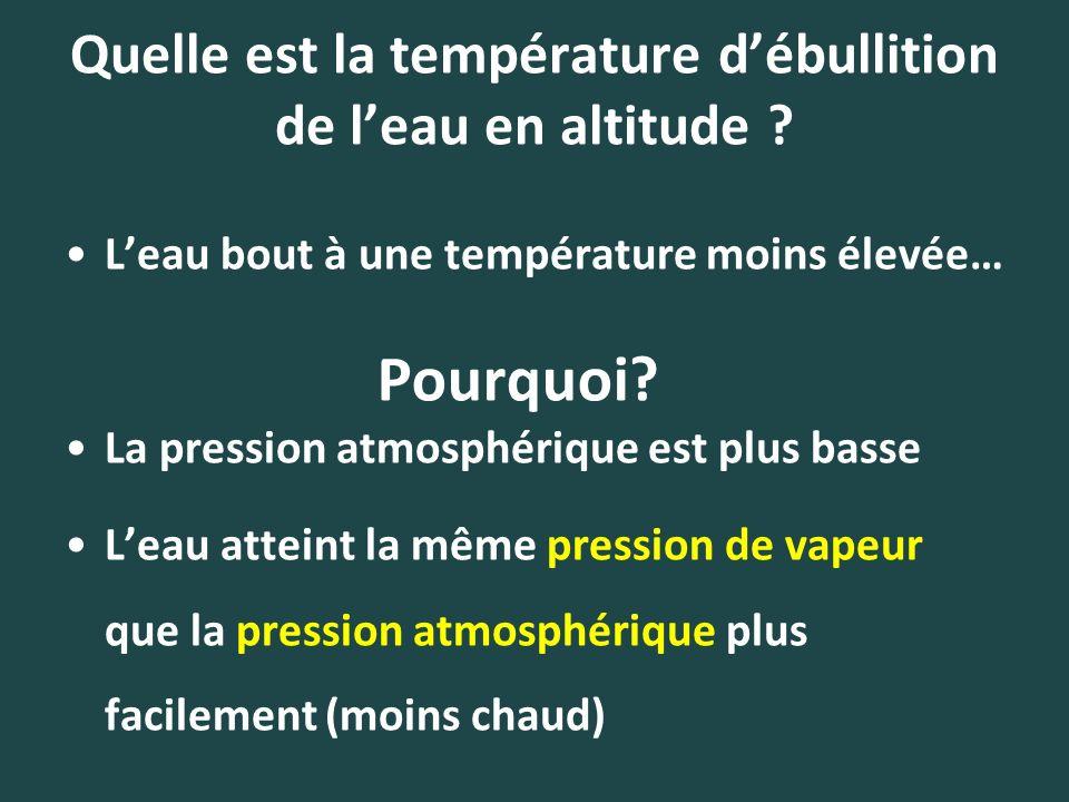 Quelle est la température débullition de leau en altitude ? Leau bout à une température moins élevée… La pression atmosphérique est plus basse Leau at