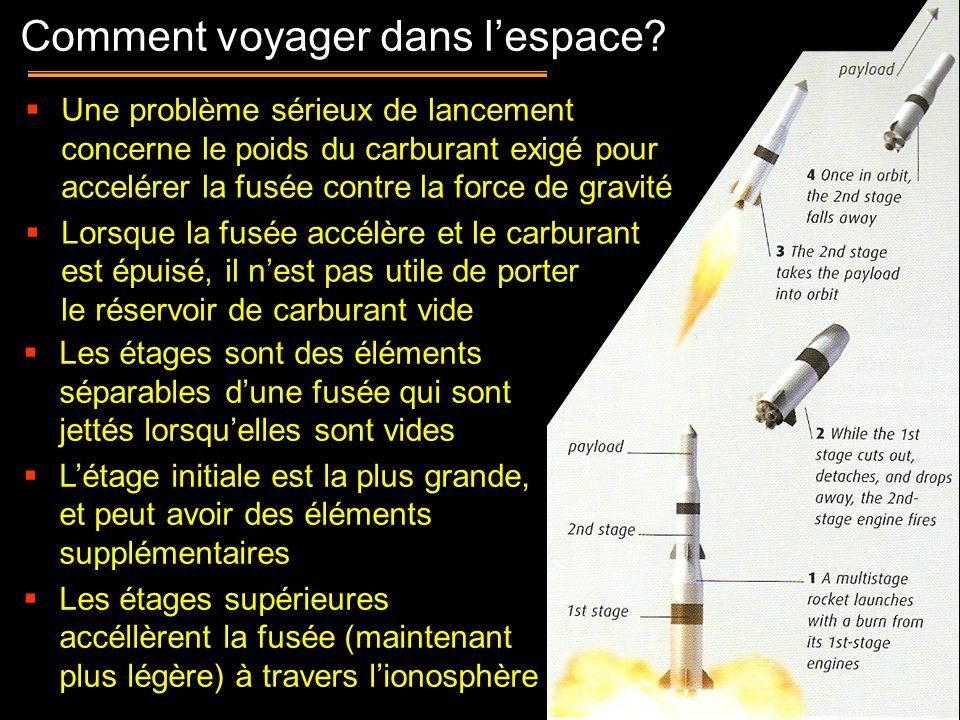 7 Une problème sérieux de lancement concerne le poids du carburant exigé pour accelérer la fusée contre la force de gravité Lorsque la fusée accélère