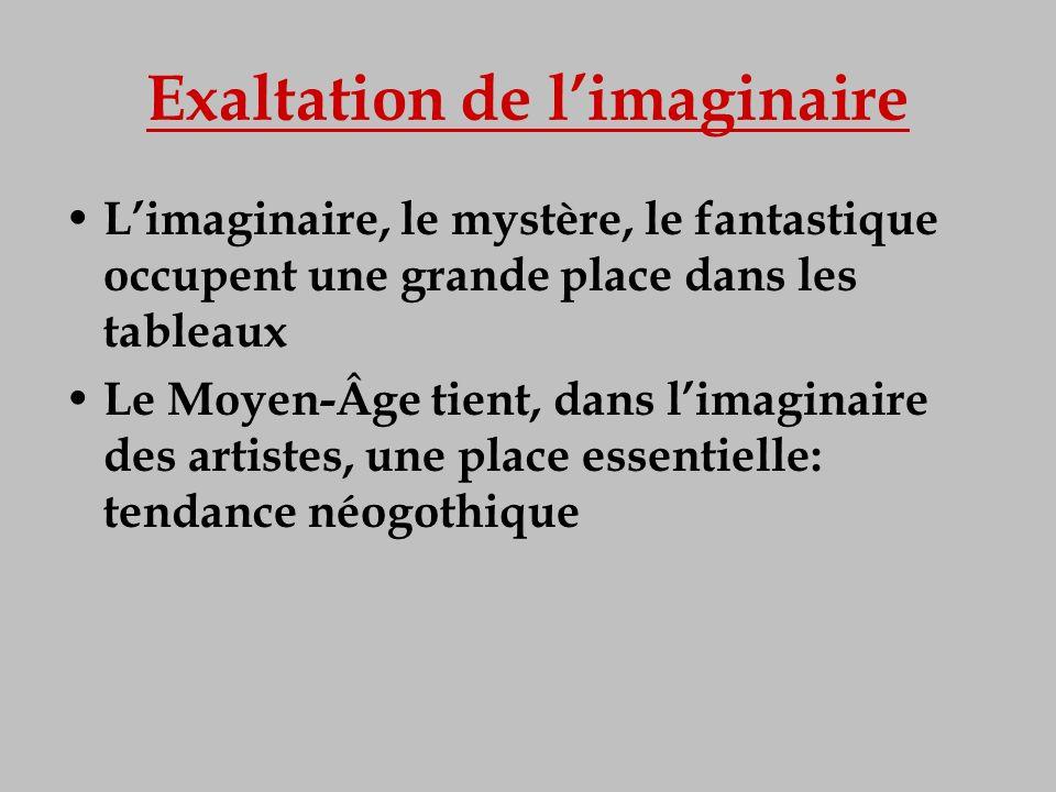 Exaltation de limaginaire Limaginaire, le mystère, le fantastique occupent une grande place dans les tableaux Le Moyen-Âge tient, dans limaginaire des