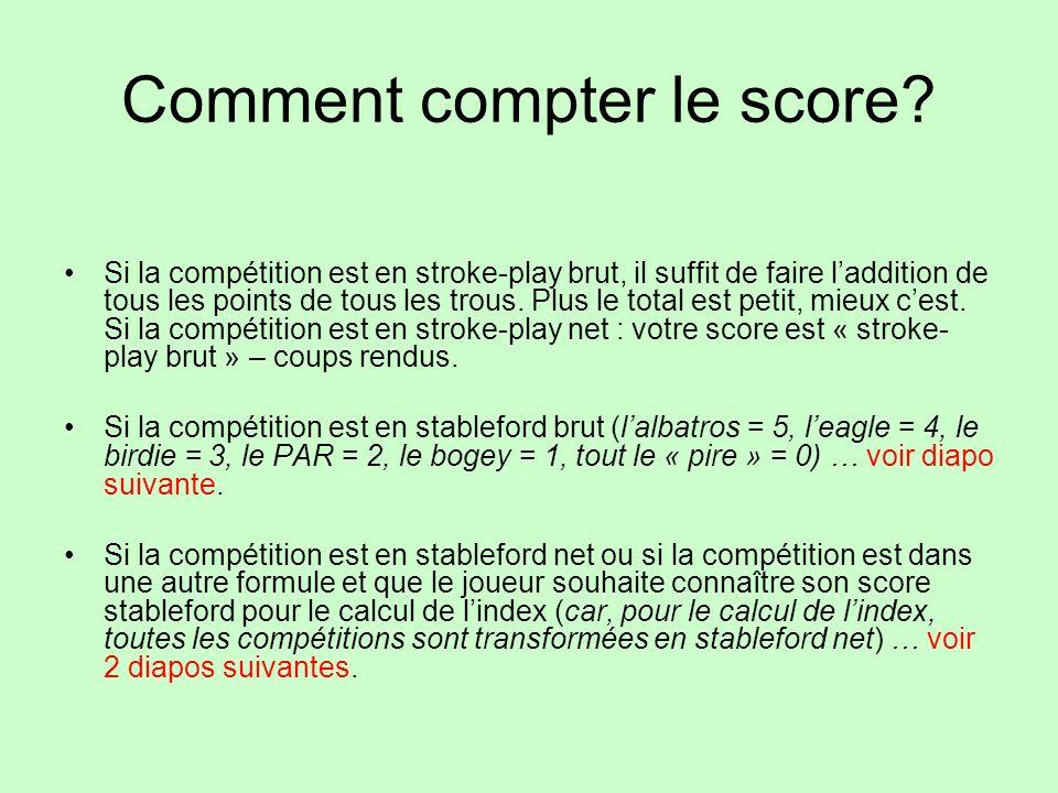 Comment compter le score? Si la compétition est en stroke-play brut, il suffit de faire laddition de tous les points de tous les trous. Plus le total