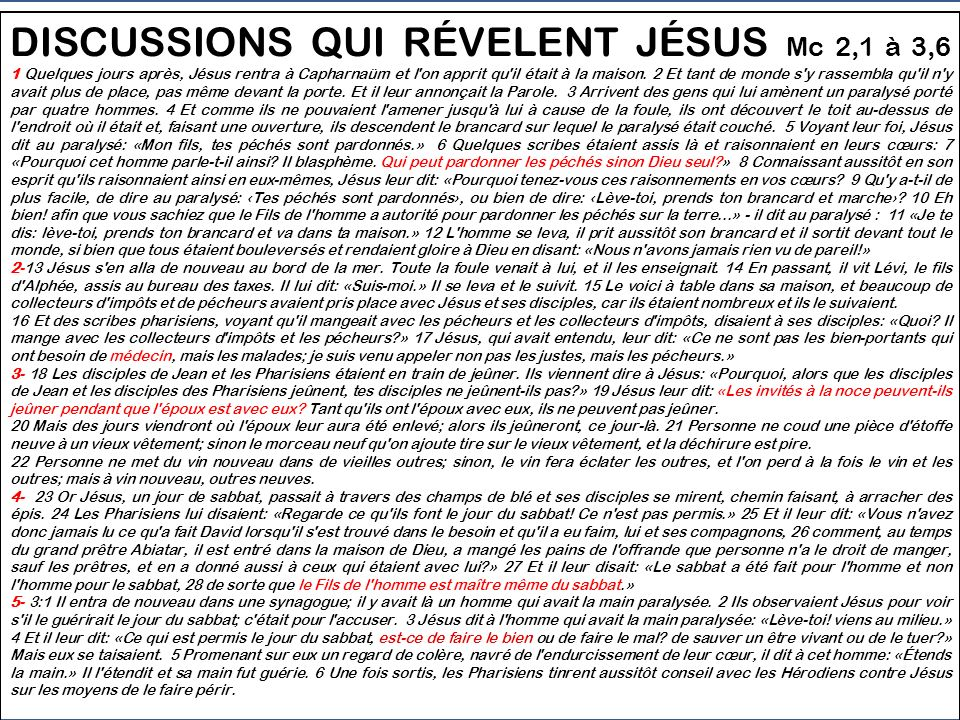 DISCUSSIONS QUI RÉVÈLEN JÉSUS DE FAÇON VOILÉE Mc 2:1 - 3:6 1 - 2,1-12 En guérissant le paralysé, on voit Jesús être Dieu qui pardonne 2 - 2,13-17 En appelant un pécheur, il nous est dit que Jésus est Médecin qui guérit les personnes 3 - 2,18-22 En justifiant les disciples, Jésus donne à comprendre quil est lÉpoux du Règne nouveau.