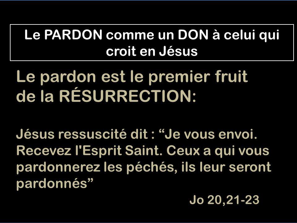 Le PARDON comme un DON à celui qui croit en Jésus Le pardon est le premier fruit de la RÉSURRECTION: Jésus ressuscité dit : Je vous envoi.