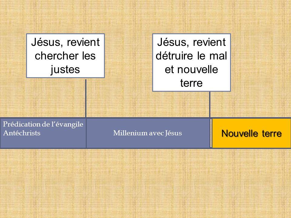 Prédication de lévangile AntéchristsMillenium avec Jésus Jésus, revient chercher les justes Nouvelle terre Jésus, revient détruire le mal et nouvelle