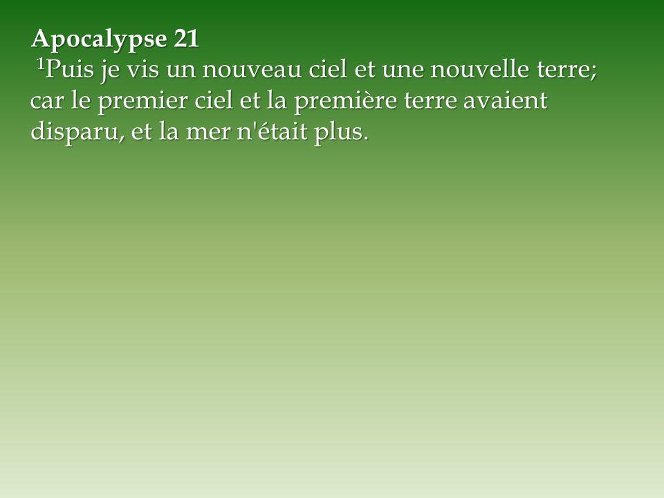 Apocalypse 21 1 Puis je vis un nouveau ciel et une nouvelle terre; car le premier ciel et la première terre avaient disparu, et la mer n'était plus. 1