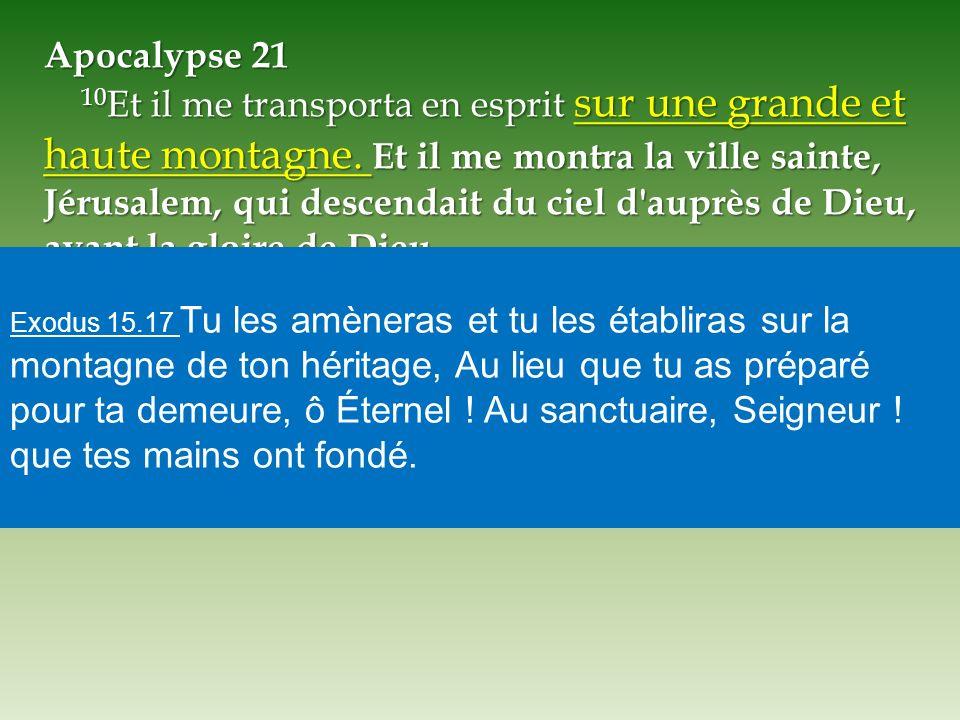 Apocalypse 21 10 Et il me transporta en esprit sur une grande et haute montagne. Et il me montra la ville sainte, Jérusalem, qui descendait du ciel d'