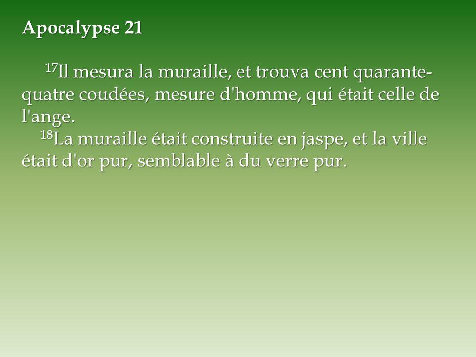 Apocalypse 21 17 Il mesura la muraille, et trouva cent quarante- quatre coudées, mesure d'homme, qui était celle de l'ange. 17 Il mesura la muraille,