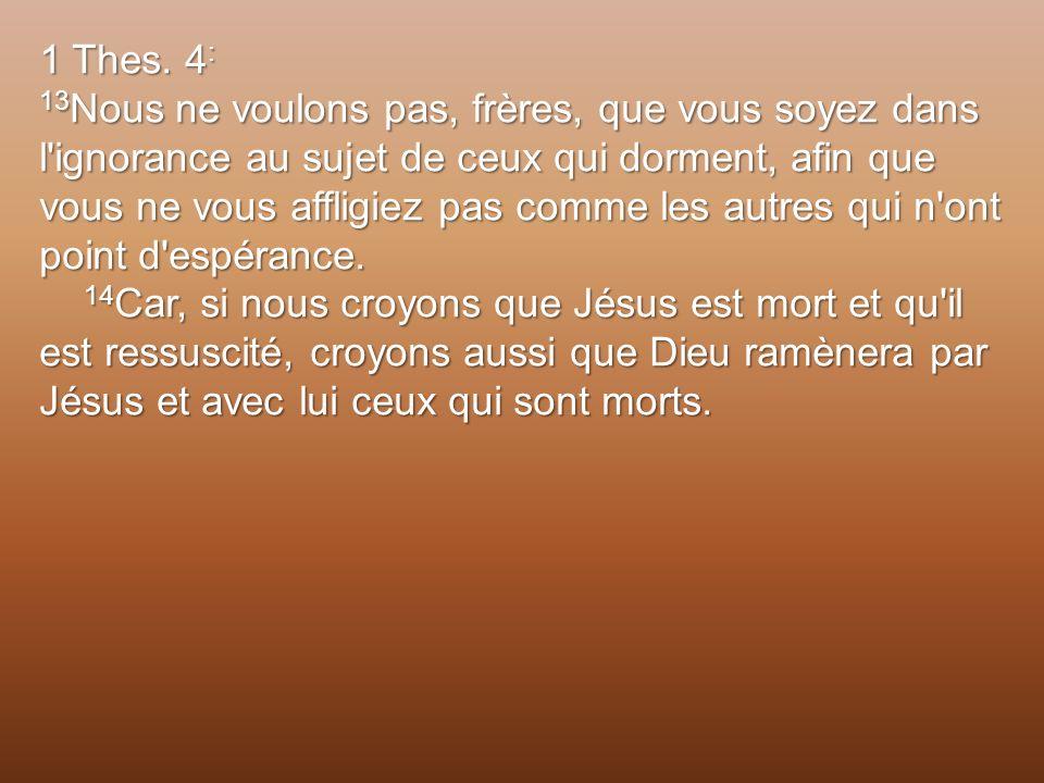 1 Thes. 4 : 13 Nous ne voulons pas, frères, que vous soyez dans l'ignorance au sujet de ceux qui dorment, afin que vous ne vous affligiez pas comme le