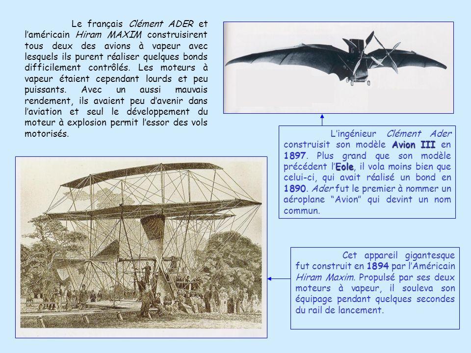 Bien des machines, toutes plus curieuses les unes que les autres, furent construites par les premiers hommes qui saventurèrent dans le domaine du vol.